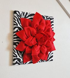 Red Wall Flower  Red Dahlia On Zebra Print 12 X12 Canvas Wall Art  Baby
