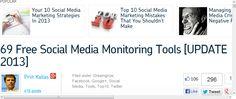 69 Free Social Media Monitoring Tools [UPDATE 2013]