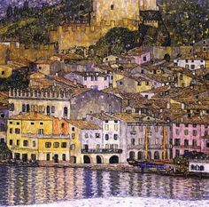 Gustav Klimt: Malcesine am Gardasee 1913/ Malcesine on Lake Garda. Oil on canvas Depository: Destroyed by a fire set by retreating German forces in 1945 at Schloss Immendorf, Austria. This painting originates from the same point of view as the painting 'Kirche in Cassone' from the peninsula of Val di Sogno. After 30 years Klimt once again uses human figures as staffage in a landscape.
