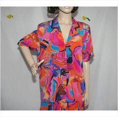 Vintage Designer Gaudy Shirt Top Size 10 12 14 Gold Orange Purple Pattern Womens