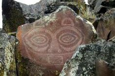 Tsagaglalal (She Who Watches) petroglyph in Columbia Hills State Park