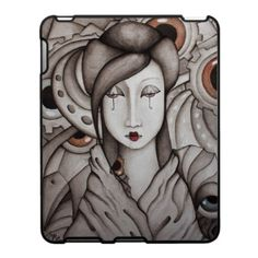 "Abstract Geisha iPad Case  A work of art for your iPad...a beautiful geisha with umbrella eyes. From my original painting ""Who Am I?"" Ink and watercolor on paper. By SimonaMereuArt $52.90"