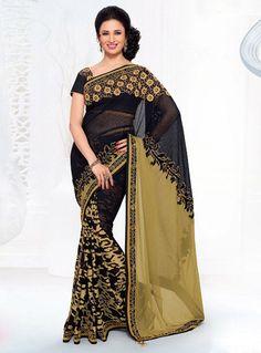 Divyanka Tripathi Black Faux Georgette Party Wear Saree 81258