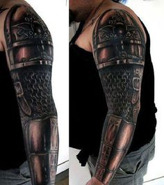 Male Chainmail Tattoo With Black Ink