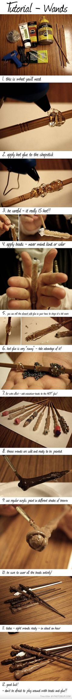 How To Make A Wand With Everyday Things... I only suggest this for beginners, as you really want a wand that calls to you, and not a wand created with a chop stick. Feel free to use natural wood from a branch that has been blessed instead...  Many Magicks... ☽✪☾