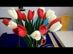 Hướng dẫn làm hoa tulip - Paper Flower - YouTube