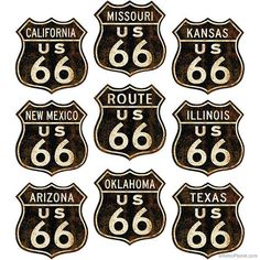 Rusty Route 66 Shield Wall Decal Set by RetroPlanetUSA on Etsy