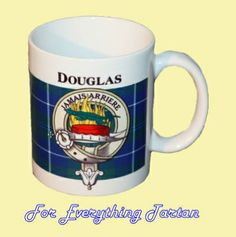 Douglas Tartan Clan Crest Ceramic Mug Clan Badge Douglas   foreverythinggenealogy.openstores.com.au