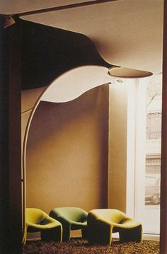 """Interior of the lobby of the magazine """"Meubles et Fonction"""" Paris 1971 Pierre Paulin designed the interior and the furniture Contemporary Interior, Modern Interior Design, Interior Architecture, Interior Concept, Design Hotel, Inflatable Furniture, Decoration Chic, 70s Decor, Mid Century Furniture"""