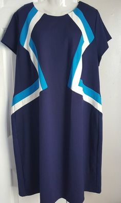 ef3249b66d3 NWOT Spense Woman Plus Size 20W Blue  amp  White Color Block Shift Dress   Spense