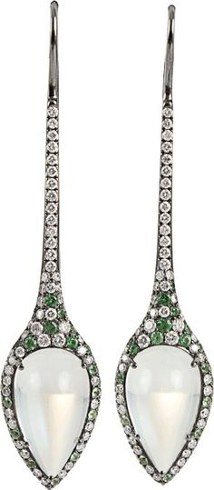 ARUNASHI Moonstone, Demantoid, and Diamond Earrings #Precious_Posts @PreciousPosts