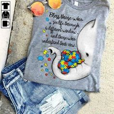 Autism Elephant Bless Those Who See Life Through Different Windows Ladies Tshirt Men And Women T Shirt Autism Awareness Crafts, Autism Awareness Quotes, Awareness Tattoo, Autism Crafts, Autism Quotes, 12 Tattoos, Autism Tattoos, Tatoos, Back Tattoo