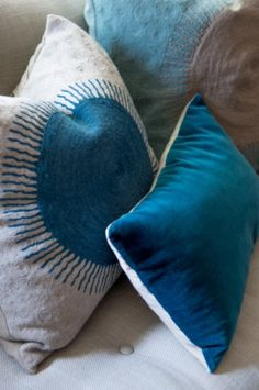 """These blue pillows are from our feature """"Sweet Luxuries"""""""