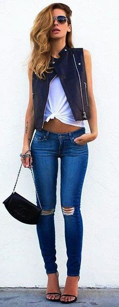 #summer #outfit black sleeveless distressed jeans style