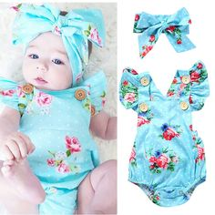 2017 Hot Summer Infant Girl Clothes Blue Flower Romper Hair Band Newborn Baby Gift Set Baby Outfit Infant Suit #Affiliate