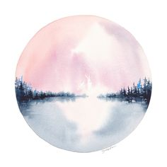 Serenity Circlescape by Jocelyn Edin  #watercolor #landscape #painting #gardenofedin #michigan
