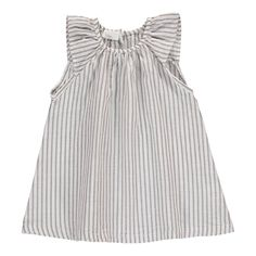Buho Sol Striped Linen and Cotton Dress Light grey