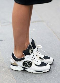 shoes sneakers trainers sportswear footwear dc streetstyle streetwear tongue black white chanel fashion designer running shoes statement beautiful sports luxe chanel trainers