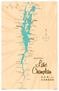 Lake Champlain Map Print by LakeboundShop on Etsy