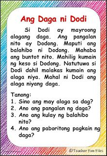 Teacher Fun Files: Filipino Reading Materials with Comprehension Questions 1st Grade Reading Worksheets, First Grade Reading Comprehension, Grade 1 Reading, Kindergarten Reading Activities, Phonics Reading, Reading Comprehension Worksheets, Comprehension Questions, Reading Passages, Kindergarten Worksheets