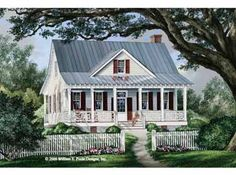Seeing Double Porches (HWBDO68492) | Cottage House Plan from BuilderHousePlans.com