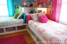 Awesome Corner Twin Beds with Underbed Storage - www.creative-storage-ideas.com