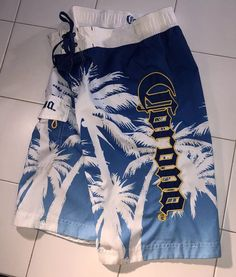 641e2218cd Mens Corona SMALL Board Shorts Blue White Palm Trees Lined Pocket | eBay