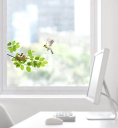 The Birds Window Sticker allows you to decorate your windows or mirrors with these beautiful stickers! The Birds Window Sticker comes in 3 parts: Small Leafs, Leafs with Baby Birds and Mother Bird.