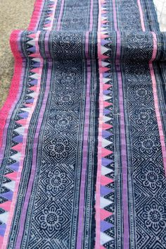 VINTAGE COTTON FABRIC with applique stitch work,  HANDMADE EMBROIDERY INDIGO FABRIC,  A beautiful vintage hmong fabric measurements 275 cm long,