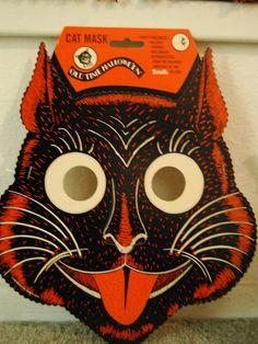 vintage Halloween cat mask...