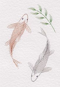 A Japanese Koi carp pattern has been added to the Stitching Cards collection. The design features two Japanese Koi fish. Embroidery Cards, Embroidery Patterns Free, Learn Embroidery, Card Patterns, Hand Embroidery Designs, Sashiko Embroidery, Embroidery Scissors, Embroidery Supplies, Shirt Embroidery