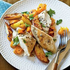 Roast Chicken with Potatoes and Butternut Squash   Cooking Light best budget recipes