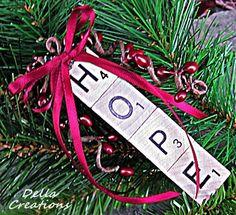 Scrabble Tile Ornament  HOPE by WinterberryOriginals on Etsy