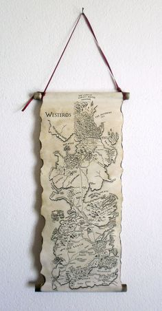 Game of Thrones Map Westeros Map GoT Map Poster on Handmade Scroll
