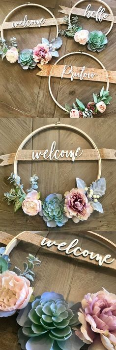 Pretty welcome wreath with embroidery hoop and succulents,Crafty Projects Hübscher Willkommenskranz mit Stickrahmen und Sukkulenten Like: More from my siteIch. Cute Crafts, Crafts To Do, Creative Crafts, Bead Crafts, Diy Bebe, Succulent Wreath, Succulent Ideas, Succulent Favors, Welcome Wreath