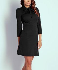 Look what I found on #zulily! Black Tie-Neck Dress #zulilyfinds