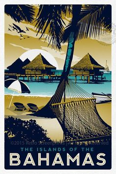 Bahamas Retro Vintage Travel Poster by RetroScreenprints on Etsy #vintagetravelposters #vintageposters