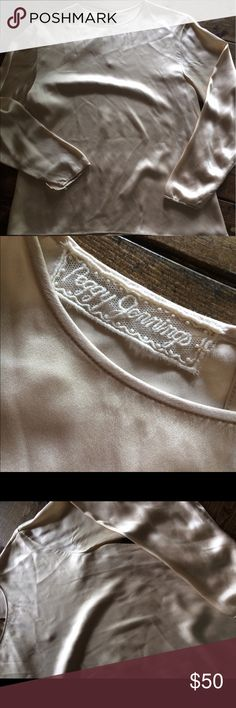 Peggy Jennings Silk Champagne Pearl Blouse Small Gorgeous 100 percent Silk! Has one small mark near the neck as pictured. Peggy Jennings! Peggy Jennings Tops Blouses