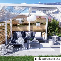 Perfect for a romantic evening for two. Back Gardens, Outdoor Gardens, Outdoor Furniture Sets, Outdoor Decor, Outdoor Sofa, Antibes, Porch Swing, Home And Living, New Homes