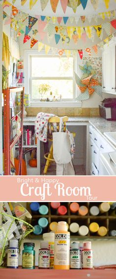 Bright and happy Craft Studio tour. Love her creative style and free spirit! Beautiful, inspiring creative space. Hang fabric banners from the ceiling for a cheerful feel! Love this idea.