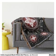 Celtic Inspired Black White Red Throw Blanket