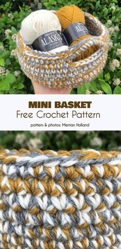 Quick Mini Basket Gratis Häkelmuster - Basket and Crate Crochet Wool, Crochet Quilt, Crochet Crafts, Yarn Crafts, Free Crochet, Crochet Stitches, Sewing Crafts, Crochet Bags, Crochet Basket Pattern