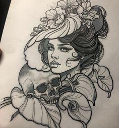 Skull Girl Tattoo, Girl Face Tattoo, Tatoo Art, Girl Tattoos, Tatoos, Traditional Tattoo Woman Face, Neo Traditional Tattoo, Face Tattoos For Women, Cross Tattoos For Women