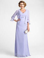 Sheath/Column V-neck Floor-length Chiffon Mother of the Bride Dress... – USD $ 89.99