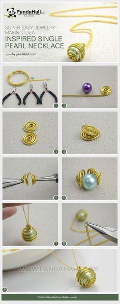 Super easy jewelry making idea-inspired single pearl necklace by Jersica - DIY Jewelry Wire Wrapped Jewelry, Wire Jewelry, Jewelry Crafts, Beaded Jewelry, Handmade Jewellery, Jewlery, Bridal Jewelry, Pearl Jewelry, Hanging Jewelry
