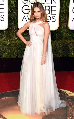 Lily James in Marchesa // See the best-dressed celebrities on the Golden Globes 2016 red carpet Lily James, Celebrity Red Carpet, Celebrity Dresses, Celebrity Style, Jamie Alexander, Red Carpet Dresses 2016, Beautiful Dresses, Nice Dresses, Dress Wedding