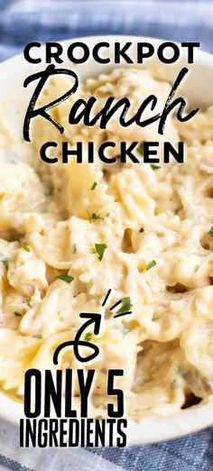 Crockpot Ranch Chicken Five ingredient, very simple Slow Cooker Creamy Ranch Chicken can quickly be thrown together in the crock pot for a meal the whole family will love! Crockpot Dishes, Crock Pot Cooking, Crock Pot Pasta, Crock Pot Spaghetti, Slow Cooker Spaghetti, Slow Cooker Pasta, Crock Pot Slow Cooker, Crockpot Meals, Ranch Slow Cooker Chicken