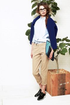 Knit, Shirt, Pants, royal blue
