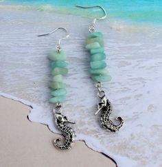 Long Dangle Sea Horse Charm Earrings Amazonite by InaraJewels