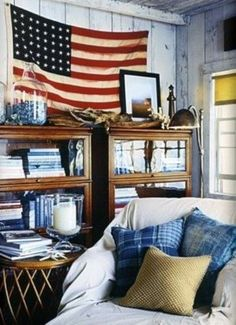 Coastal nautical space decorated with vintage inspired decor